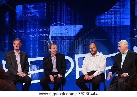 Las Vegas, Nv - May 6, 2014: David Goulden, Pat Gelsinger, Paul Maritz And Joe Tucci (left To Right)