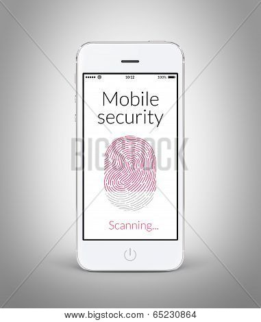 Front View Of White Smart Phone With Mobile Security Fingerprint Scanning On The Screen