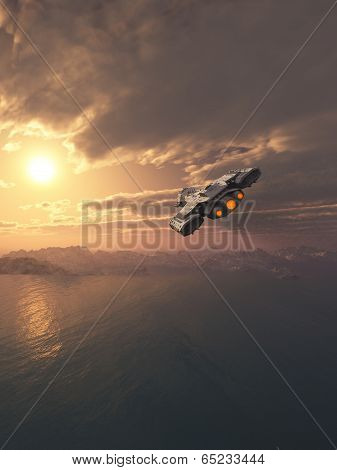 Spaceship Flying at Sunset
