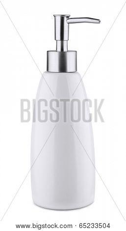Ceramic soap dispenser isolated on white