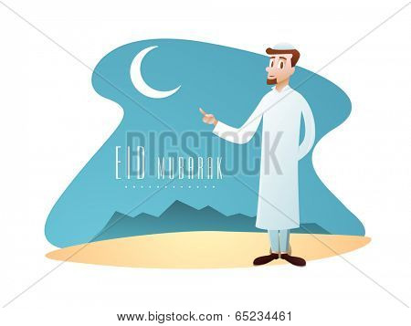 Religious young Muslim man indicating towards crescent moon. Creative poster, banner or flyer design for Eid Mubarak festival celebration.
