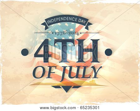 Vintage poster, banner or flyer design with stylish text 4th of July on American flag background for Independence Day celebration.