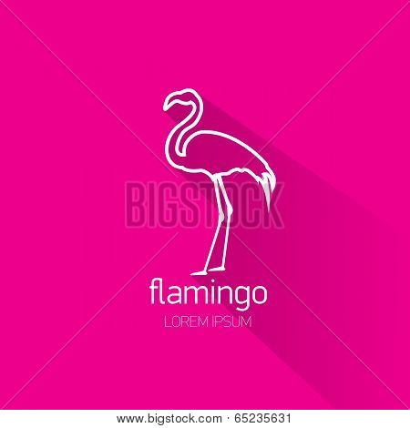 vector stylish flat design flamingo Icon