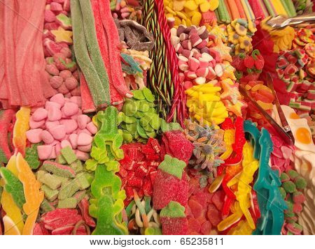 selection of sweets / candy at Boqueria market, Barcelona, Catalonia, Spain