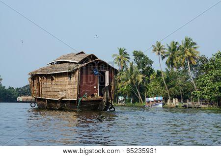 tourist boats at Kerala backwaters,Alleppey,Kerala,India