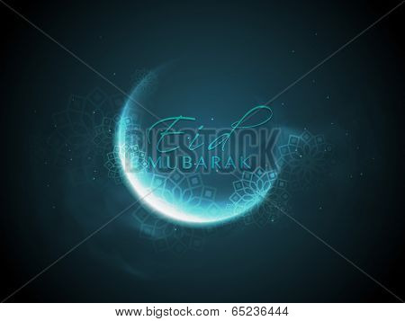 Shiny crescent moon with stylish text Eid Mubarak on blue background, can be use as flyer, banner or poster design for Muslim community festival.