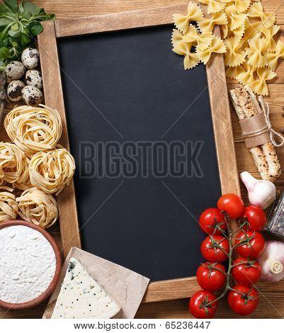 Italian food recipe on rustic wood