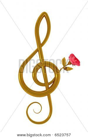 Treble Clef And Pink Rose