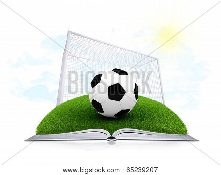 Soccer ball and gate on an open white book