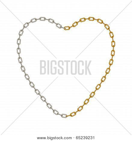 Half of chain in silver and half of chain in golden colour in shape of heart