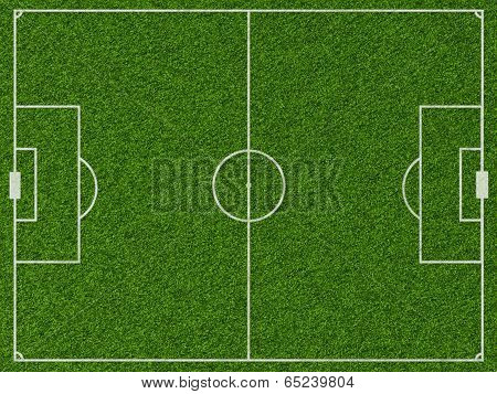 Empty football field with markup