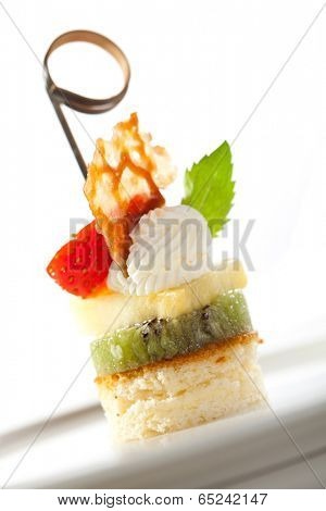 Dessert Canapes - Biscuit, Kiwi, Pineapple, Strawberry and Whipped Cream