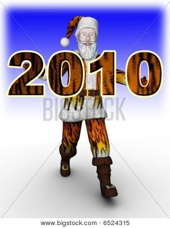 Santa in tiger fur hold 2010