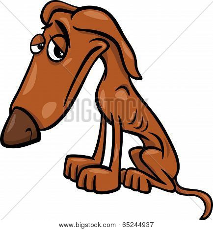 Poor Hungry Dog Cartoon Illustration