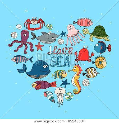 I Love Sea nautical themed design