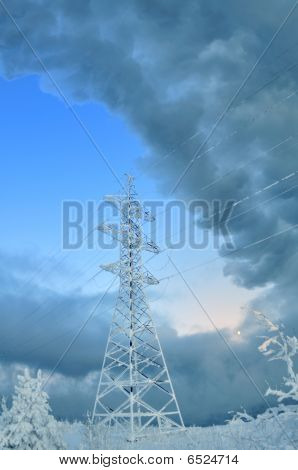 High Voltage Tower. Winter.