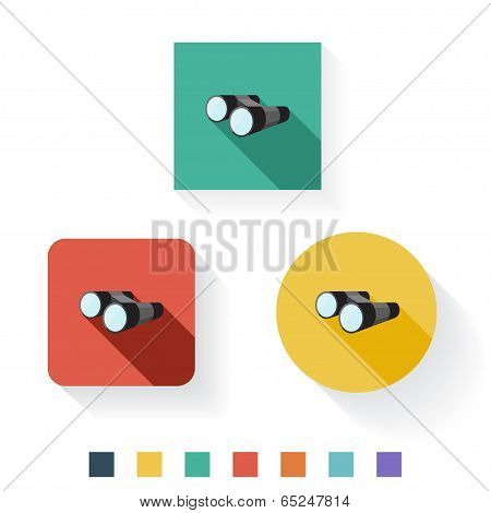 Binocular Flat Icon Design