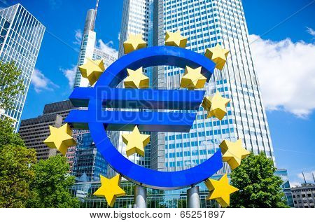 Euro Sign. European Central Bank (ECB) is the central bank for the euro and administers the monetary policy of the Eurozone. May 16, 2014 in Frankfurt, Germany.