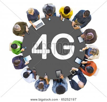 Multiethnic Group of People Socail Networking with 4G