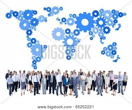 Mullti-ethnic group of business person with gear world map