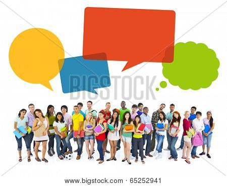 Multiethnic Cheerful Students with Speech Bubbles
