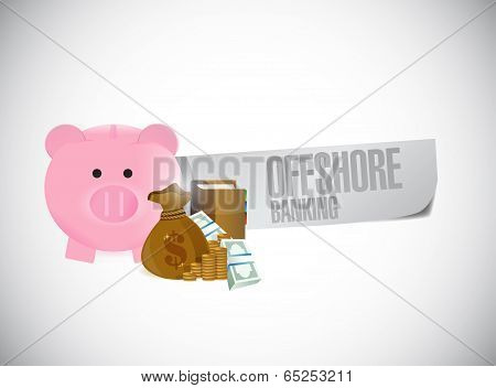 Offshore Banking Sign Illustration Design