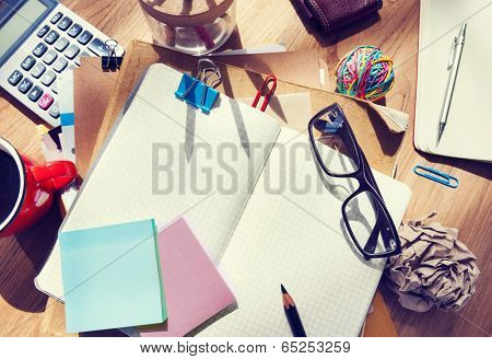 Designer's Desk with Architectural Tools and Notebook