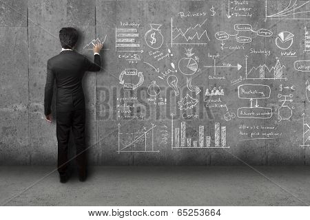 businessman drawing concept and strategy on wall