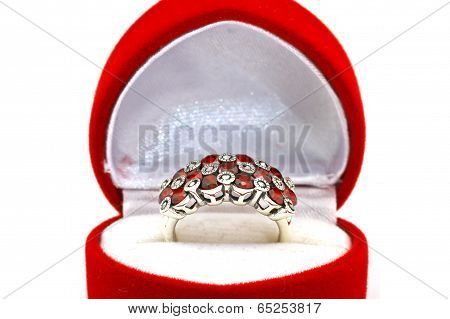 Ruby and diamond bezel style ring background