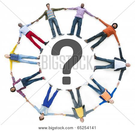 Multiethnic People Lying Down and Question Mark