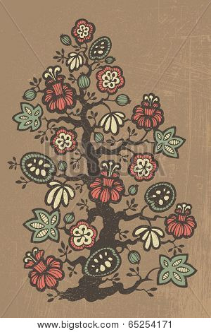 Hand drawn abstract fantasy floral tree, vector, color retro