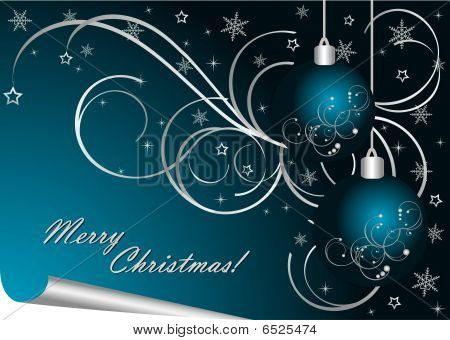 Merry Christmas - Blue Background