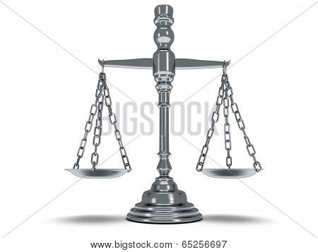 Scales justice on white.