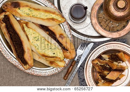 Turkish Savory Pide Served With Hot Fresh Tea