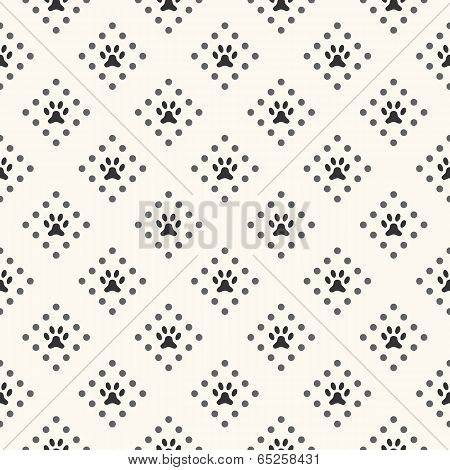 Seamless animal pattern of paw footprint and dot. Endless textur