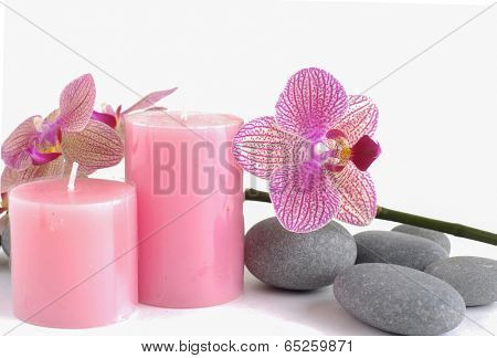 Spa still life with stripped lilac orchid and zen stone with two candle