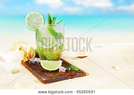 Fresh mojito drink on beach