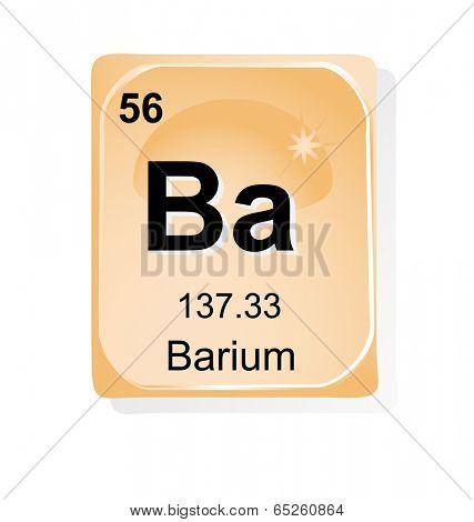 Barium chemical element with atomic number, symbol and weight