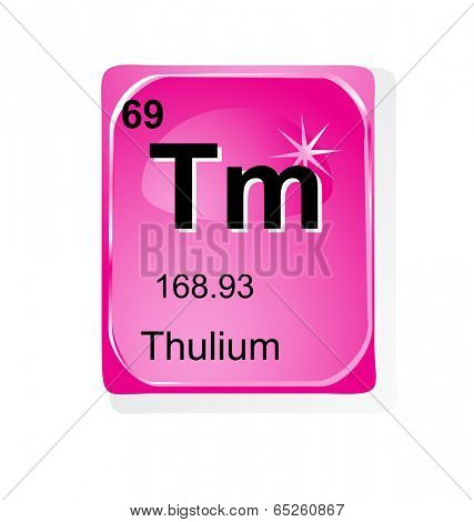 Thulium chemical element with atomic number, symbol and weight