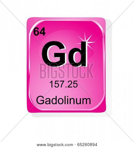 Gadolinum chemical element with atomic number, symbol and weight