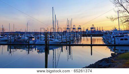 Sunset  View Of Port  And Marina. Tacoma, Wa