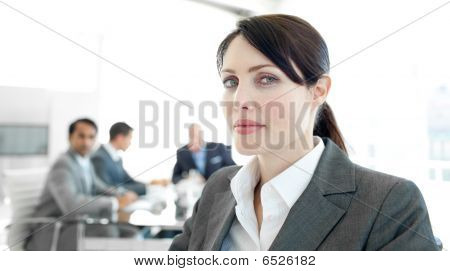 Close-up Of A Businesswoman In A Wheelchair During A Meeting