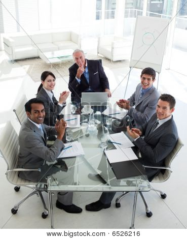International Business Team Clapping