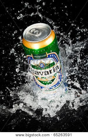 MOSCOW, RUSSIA-APRIL 4, 2014: Can of Bavaria Beer. Bavaria is the second largest brewery in the Netherlands. Founded in 1719 by Laurentius Moorees, it is currently owned by the Swinkels family.