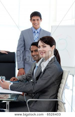 International Business People Smiling At The Camera