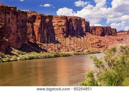 Colorado River Rock Canyon Reflection Near Arches National Park Moab Utah