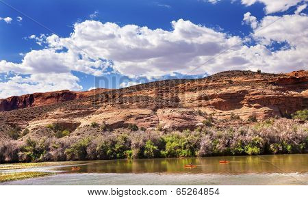 Orange Boats Colorado River  Reflection Near Arches National Park Moab Utah