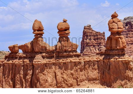 Three Sisters Hoodoos Goblin Valley State Park Rock Canyon Utah