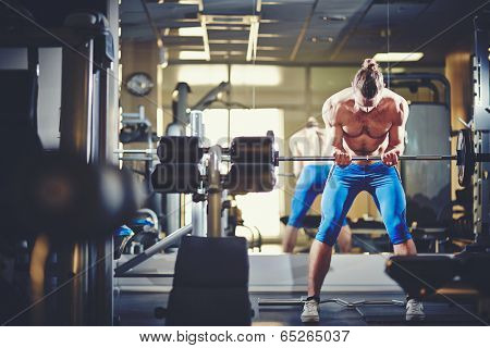 Portrait of sporty topless man lifting weight in gym