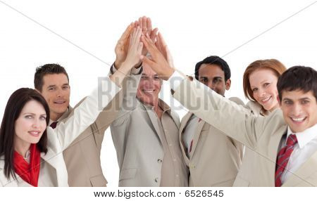 Multi-ethnic Business People Showing Positivity